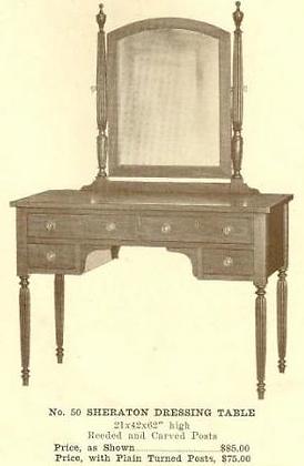 B13129 Sheraton Dressing Table ~ Plain Legs