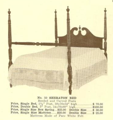 A13141 Sheraton Bed ~ Reeded & Carved Posts