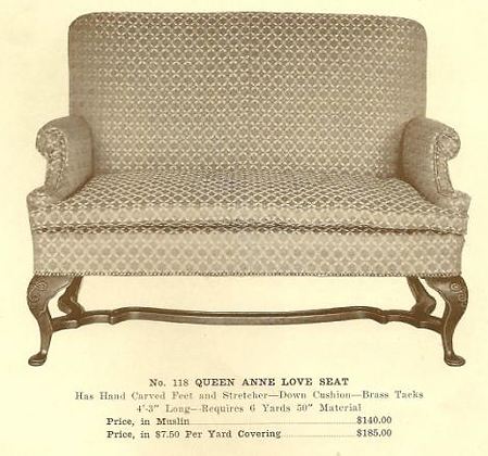 GFS- A13185 Queen Anne Love Seat ~ No Upholstery