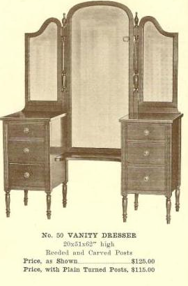 A13131 Vanity Dresser ~ Plain Turned Posts