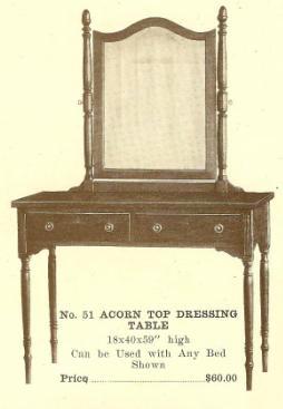 B13146 Acorn (or Pineapple) Top Dressing Table