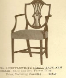 B13012 Hepplewhite Shield Back Side Chair w-Arms