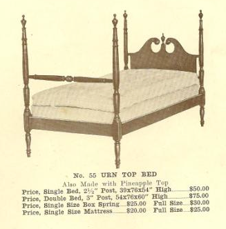 B13160 Urn (or Pineapple) Top Bed - Dbl