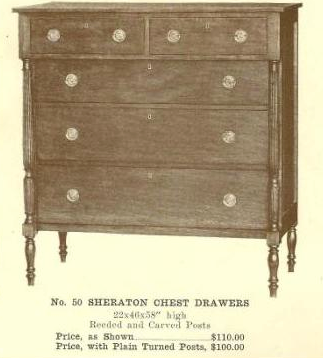 B13133 Sheraton Chest Drawers ~ Fluted Legs & Post