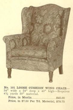 B13065 Loose Cushion Wing Chair ~ No Upholstery