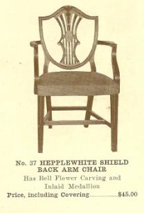 B13127 Hepplewhite Shield Back Chair w-Arms