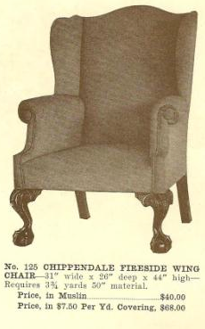 GFS- B13064 Chippendale Fireside Wing Chair ~ No U