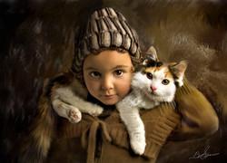 litt;e girl and cat2