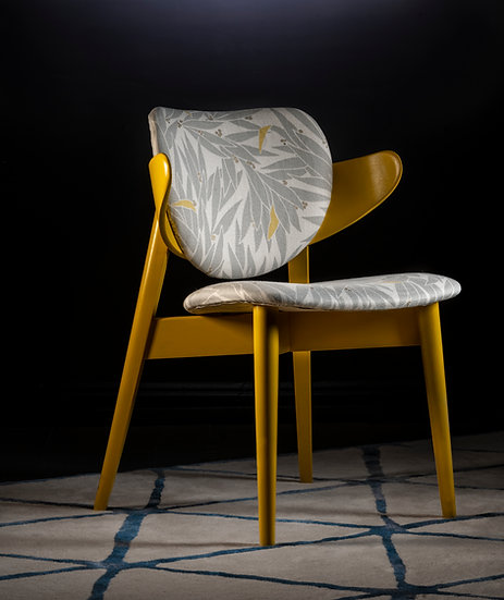 Upycled Midcentury occasional chair painted in Annie Sloans Tilton & reupholstered in Lauren by Harlequin a grey leaf design