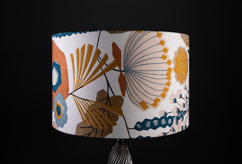Lampshade/Pendant shade made in cumbria using Zavala by Harlequin an art deco orange botanical fabric, size 40x25cm