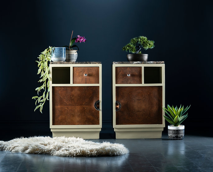 Unique walnut Art Deco bedside tables with marble tops, restored & painted in a soft white for a modern minimal feel.
