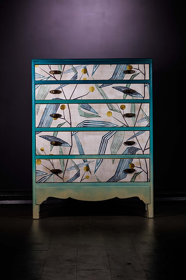 Upcycled Painted Chest Of Drawers, Harlequin Fabric, Blue, Ombre in Chalk Paint, Upcycled Furniture, Bedroom Storage, Uk