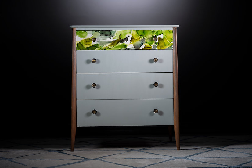 Unique 70's tall chest of drawers upcycled in the uk painted grey with wood accents & green alcohol ink design on top drawer