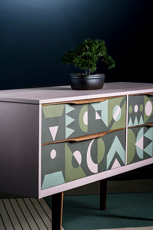 Pink & green sidebaord with hand painted geometric deisgn on the front for a modern feel.