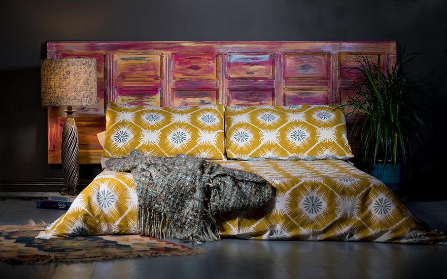Headboard, Bedroom Decor, Wooden Door Headboard, Rustic, Warm Tones, Upcycled Furniture, Oranges & Reds, Bedhead
