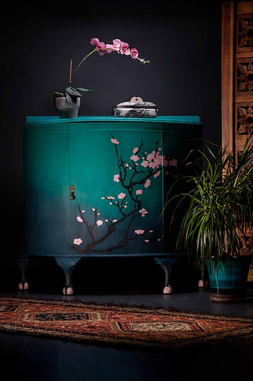Vintage Ball & Claw Drinks Cabinet, Blue Ombre, Hand painted Cherry Blossom Design, Large Drinks Cabinet, Japanese Design