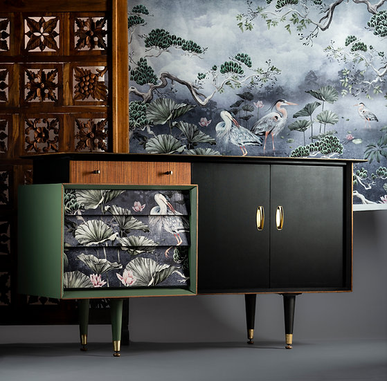 Midcentury sideboard upcycled and painted by Patience & Gough for a dark interiors using oriental Avalana design fabric.
