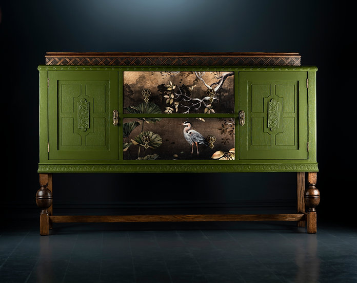 Early 19th century oak carved sideboard available in Liberty London, Painted in Green 05 with Orient fabric details