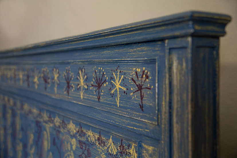 Blue Bird Mahogany Victorian Headboard