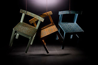 Fun Childrens chairs paitned in fun colours with geometric deisgn