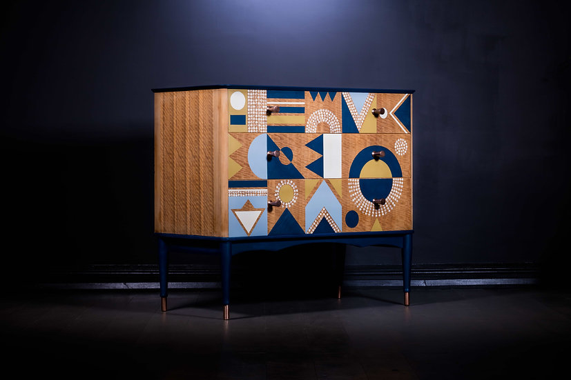 Upcycled Mid Century Chest Of Drawers, Geometric Design, Teak Furniture, Oiled Teak, Refurbished Furniture in the UK, Cumbria