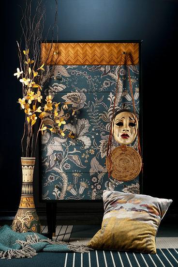 1950's Chest of Drawers, Tallboy, Bedroom Storage, Deep Green, Uhura by Linwood, Herringbone Veneer, Upcycled Furniture,