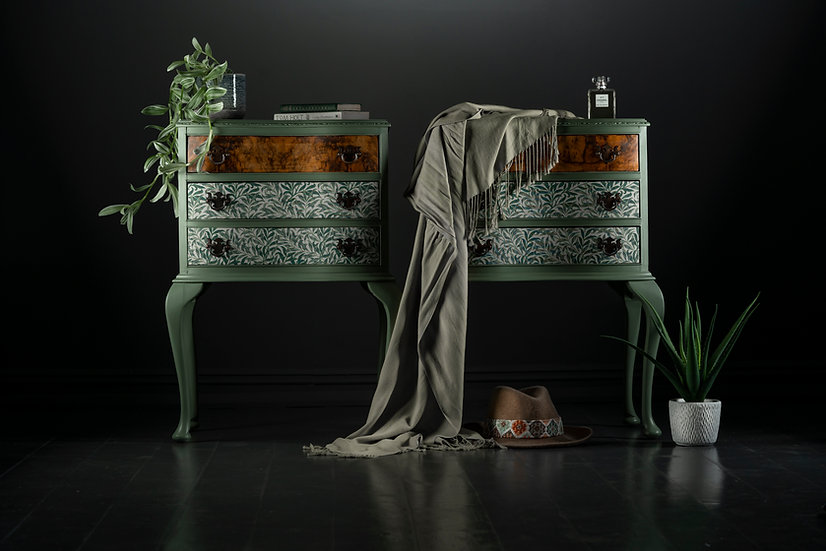 3 drawer 1920's walnut side-tables painted in a sage green with walnut & fabric covered drawers using willow broughs print