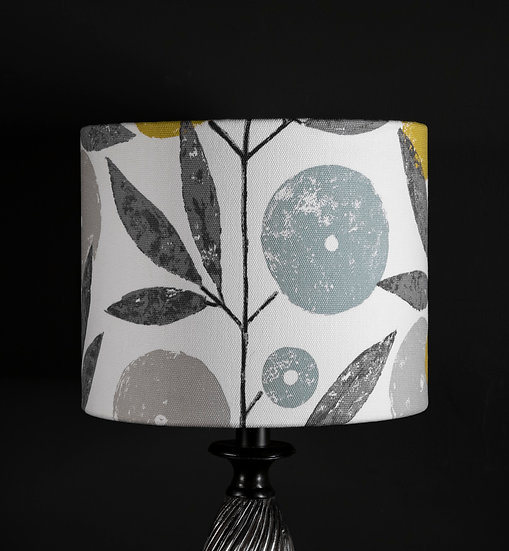 Lampshade, Lighting, Table Lamp, Flower, Blomma, Scion, 25x20, Modern, Botanical, Blue Decor, Plant, Soft Colours, Small Drum