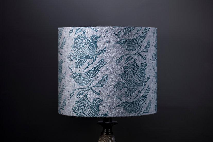 Blue Flock Printed Lampshade