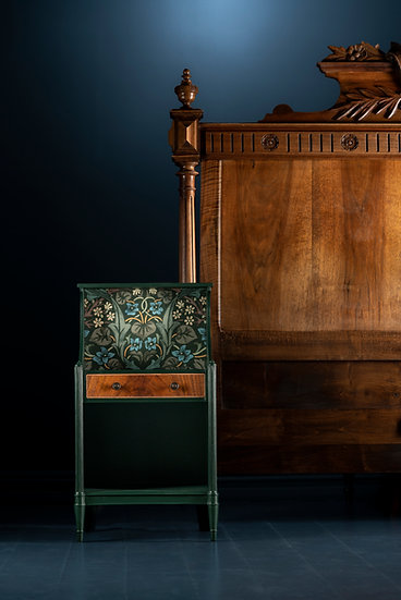 Antique bedside table & carved headboard, hand painted in dark green with wood accents and William Morris fabric panel