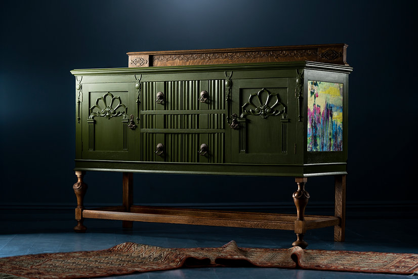 Vintage Carved Solid Oak Sideboard/Buffet, Restored And Painted In A Lush Green With Boeme Velvet Details, Created in The UK.