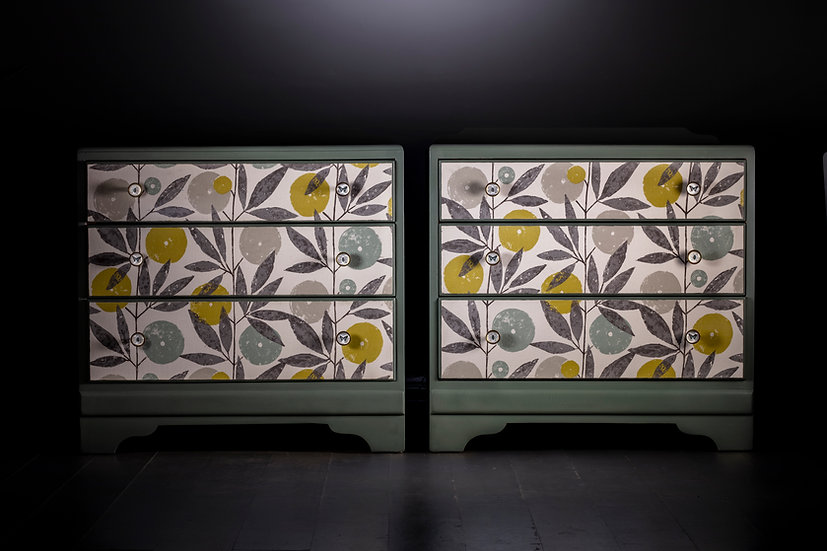 Upcycled bedside drawers or chest of drawers decoupage with Blooma by Scion a botanical green fabric for calm interiors