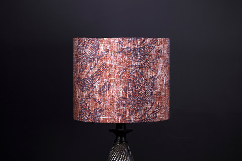 Orange Flock Printed Lampshade