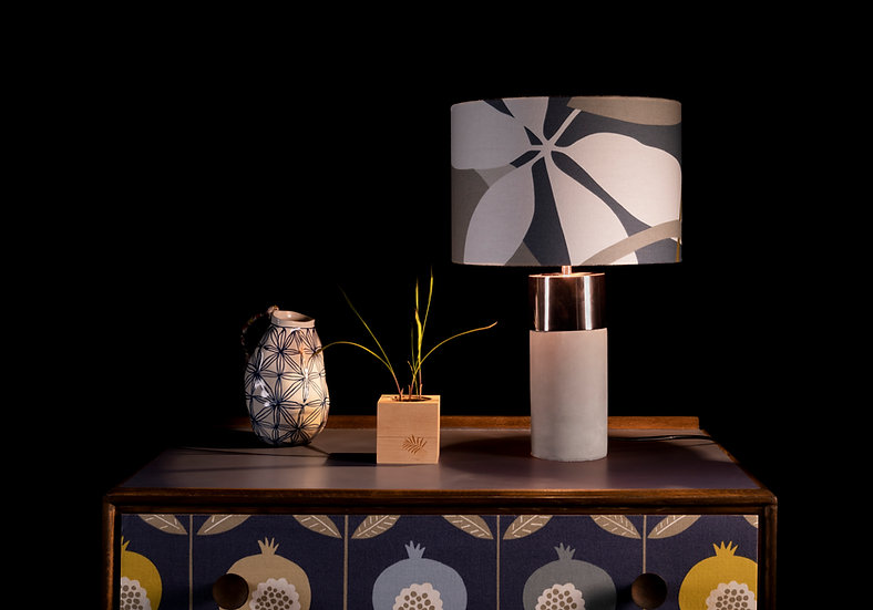 Concrete Side Lamp, Lampshade, Table Lamp, Bedroom lighting, Baja, Scion, Modern, Botanical, Blue & Copper Decor, Plant, Drum