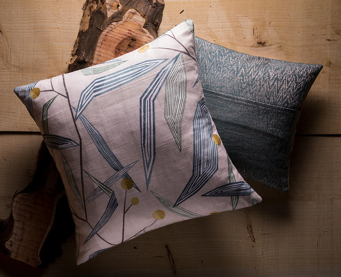 Entity Cushion, Throw Cushion, Botanical, Geometric, Modern, Contrasting Colours, Duck feather Inners, Small, Blue, Harlequin