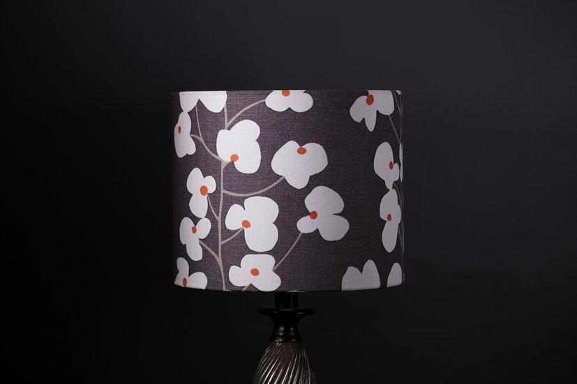 Lampshade, Table Lamp, Wallflower, John Lewis, 25x20, Modern, Botanical, Black Decor, White, Flower, Elegant, Small, Drum