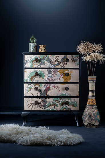 Elegant 1930s Cabriole Leg Small Chest Upcycled & Painted In Black With Green & Pink Japanese Style Fabric Covered Drawers