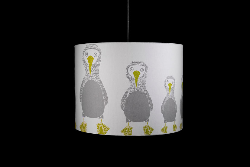 Pendant Shade, Light Shade, Bobby Bird, Scion, 40x30, Modern, Kids Decor, Bird, DoDo, Lime & Grey, Large, Drum, Fabric, Bold.