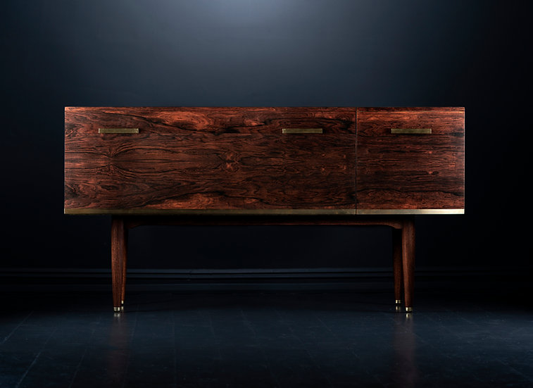 Bespoke large Swedish rosewood record unit with brass inlay, handles and feet, custom made in the UK cumbria