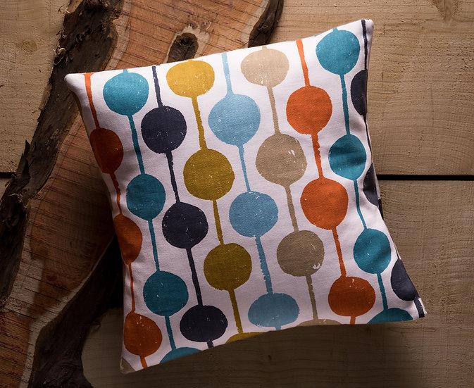 Taimi Cushion, Throw Cushion, Geometric, Vibrant Colours, Multi Colour, Duck feather inner, Scion, 17x17, Orange Details