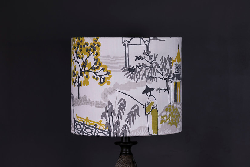 Lampshade, Side lamp, Pagoda, Clarke & Clarke, 30x25, Yellow, Black, White, Oriental, Bold, Modern, Home Decor, Small, Sale