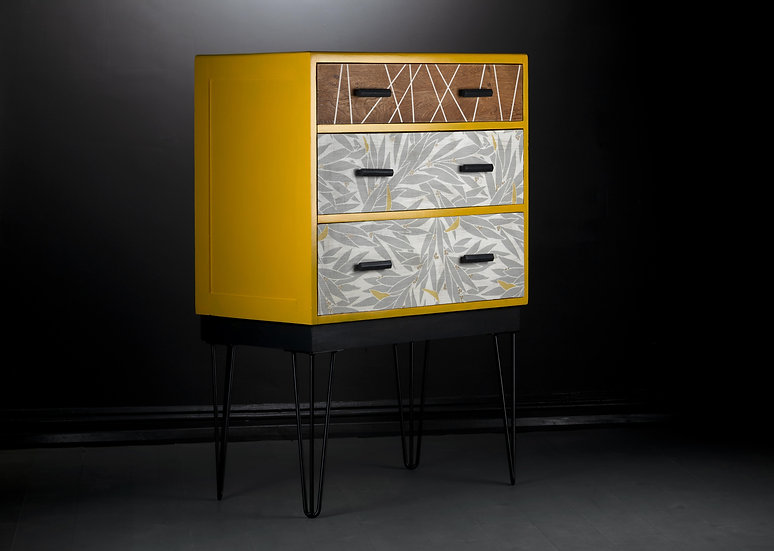 Modern Chest Of Drawers, Tallboy, Bedroom Storage, Upcycled Furniture, Painted Yellow, Lauren, Harlequin Fabric, Hairpin Legs