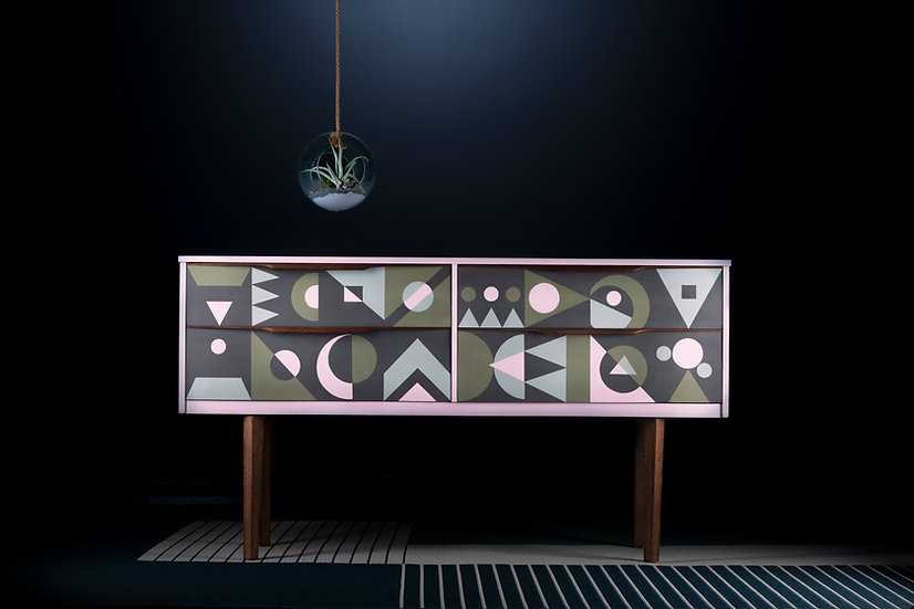 Unique upcycled midcentury teak sideboard hand painted geometric design in pink blue & green, Sustainable storage in uk