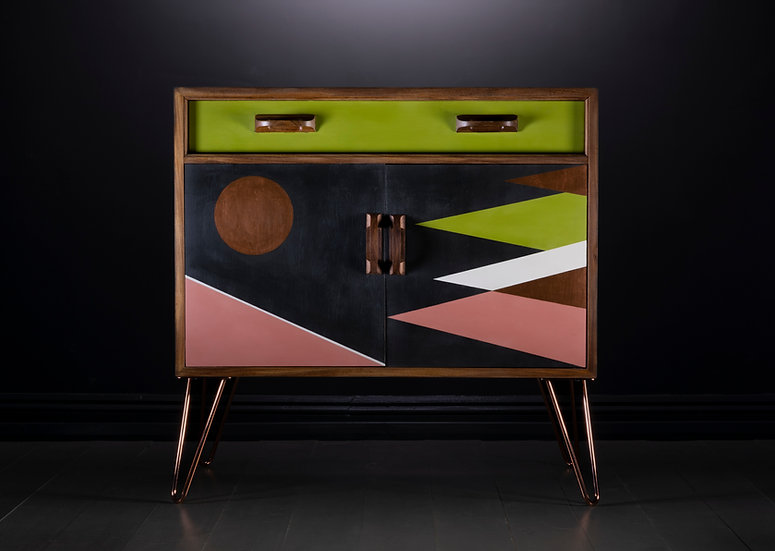 G-plan Upcycled Cupboard, Mid Century G-plan Sideboard, Vibrant Colours, Green, Pink, Black, Hand Painted Geometric Design