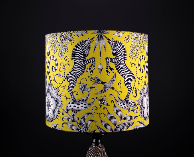 Lampshade, ,Side lamp,Emma Shipley, Kruger, 30x25, Yellow, Black & White, Zebra, Bold, Modern, Home Decor, Small, Drum Shade
