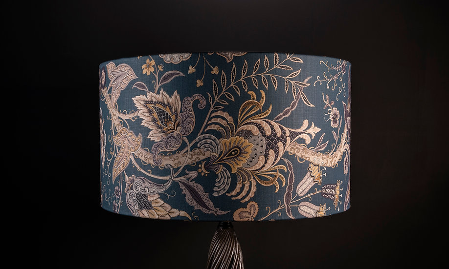 Large handmade in the Uk lampshade/pendant shade using Uhura by Linwood a dark green tree of life fabric size 55x30cm