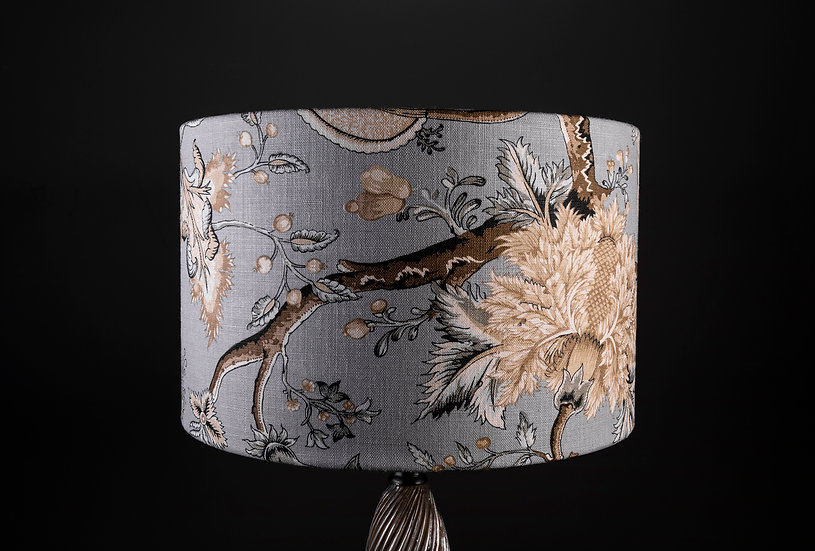 Handmade drum lampshade using Pondicherry fabric by Scalamandré: size 40x25 for sides lamps and Pendant Shade in cumbria