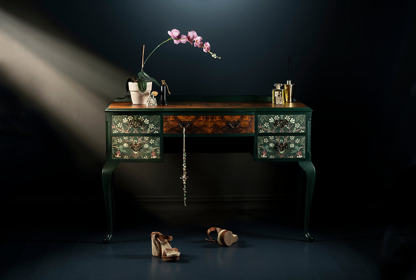 Striking vintage walnut dressing table upcycled to a high standard using Black thorn fabric and dark green paint in the Uk