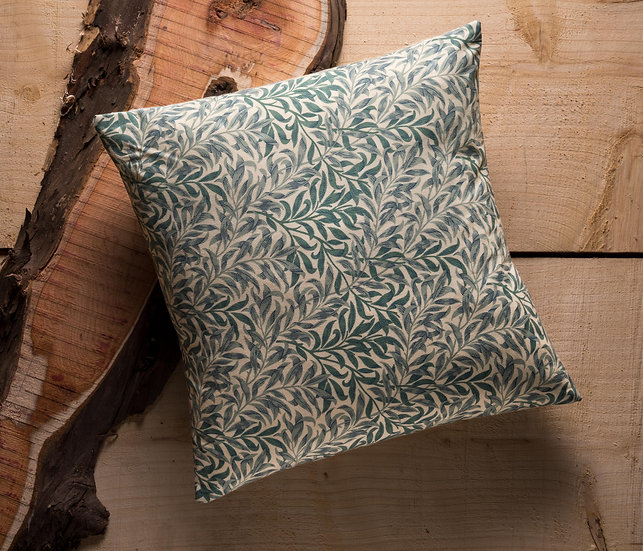 Willow Boughs Cushion, Throw Cushion, Leaf, Soft Colour, Duck feather inners, 20x20, Green, William Morris, Traditional