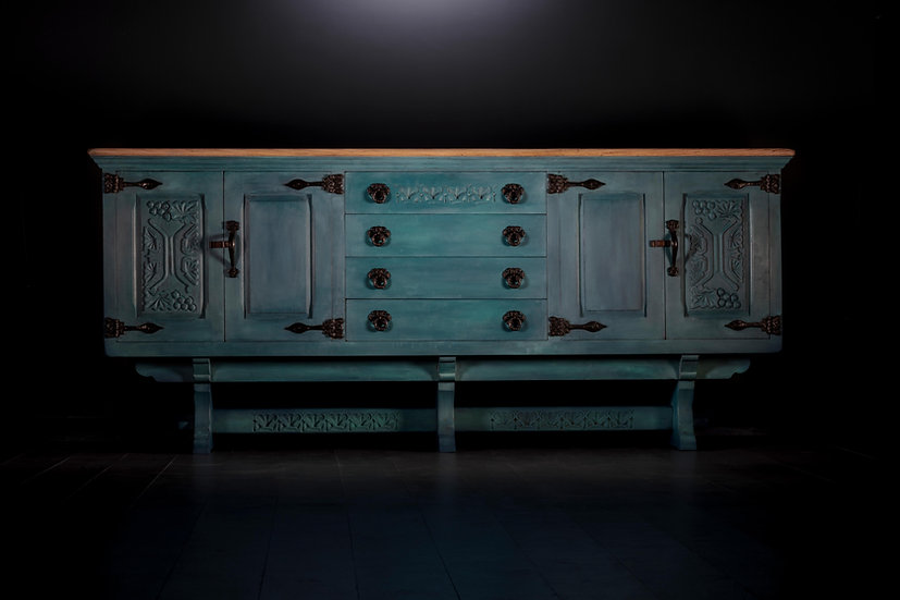 Oak Carved Sideboard, Painted Blue Sideboard, Pale Wood Top, Upcycled Furniture, Chalk Paint